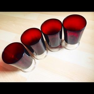 Other - Set of 4 Red Glass Goblets